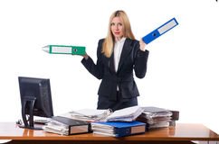 The woman businesswoman working isolated on white Stock Photos