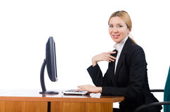 The woman businesswoman working isolated on white Stock Photography