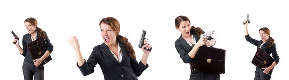 The woman businewoman with hand gun Royalty Free Stock Photography