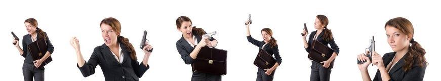 The woman businewoman with hand gun. Woman businewoman with hand gun Stock Photo