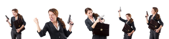 The woman businewoman with hand gun Royalty Free Stock Image