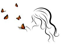 Woman and butterflies Stock Image
