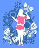 Woman and butterflies Royalty Free Stock Photos