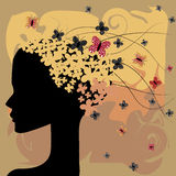 Woman and butterflies Royalty Free Stock Images