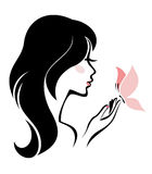 Woman with butterfly Stock Photography