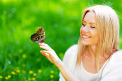 Woman and butterfly Royalty Free Stock Photo