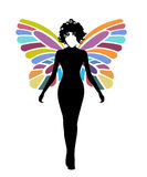 Woman Butterfly. Woman emerging as butterfly colorful wings Royalty Free Stock Images