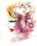 Woman with Butterfly and Flower. Fashion illustration created with watercolor and enhanced digitally Royalty Free Stock Photography