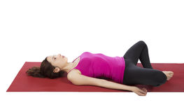Woman in Butterfly pose stock images