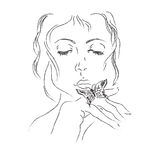 Woman, butterfly, sketch, hand, drawings, vector, illustration Royalty Free Stock Photo