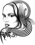 Woman with butterfly tattoo. Illustration with young woman face and butterfly tattoo on her shoulder drawn in handmade ink style Royalty Free Stock Photography