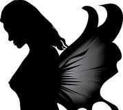 Woman with butterflys wing Stock Photos