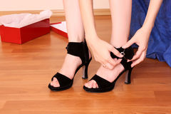 Woman buy new shoes royalty free stock photo