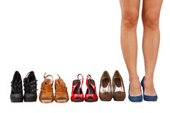 Woman buy shoes concept Royalty Free Stock Photos