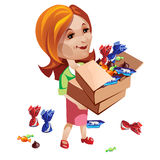 Woman buyer holding box with sweets. Vector Royalty Free Stock Photography