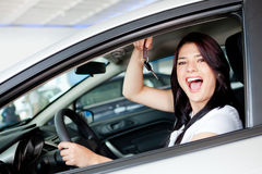 Woman buying a car Royalty Free Stock Image