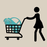 Woman buying a car. Woman with a shopping cart buying a classic car Stock Photography