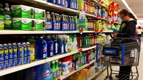 Woman buying cleaning product stock footage