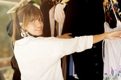 Woman buying clothes Royalty Free Stock Photo