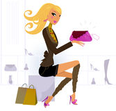 Woman buying fashion accessories in a Shoe Store. Vector Illustration of shopping blond hair woman Royalty Free Stock Photography