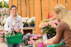 Woman buying flowers shopping basket garden center Stock Photography