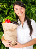 Woman buying fresh food Stock Images