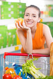 Woman buying fresh fruit at supermarket Stock Photography