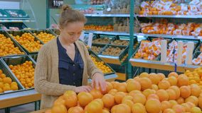 Woman buying fresh grapefruits at grocery store. Woman buying fresh citrus fruits - grapefruits at supermarket. Consumerism, sale, organic and health care stock video