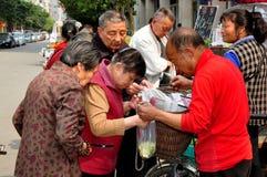 Pengzhou, China: Woman Buying Beans Royalty Free Stock Photos
