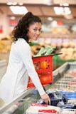 Woman Buying Frozen Food Stock Photography