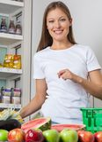 Woman Buying Fruits In Supermarket Royalty Free Stock Photography