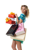 Woman buying presents Royalty Free Stock Image