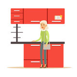 Woman Buying Red Kitchen Set, Smiling Shopper In Furniture Shop Shopping For House Decor Elements. Cartoon Character Looking For Home Interior Design Items In Royalty Free Stock Photography