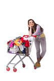 The woman after buying second hand clothing on white Stock Image