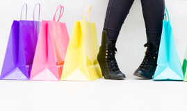 Woman buying shoes Royalty Free Stock Photography