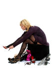 Woman buying shoes Royalty Free Stock Photo