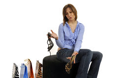 Woman buying shoes Royalty Free Stock Image