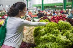 Woman buying vegetables on the market. Woman buying fresh vegetables on the market Stock Images
