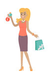 Woman Buys Perfume at Discount Price. Fragrance Royalty Free Stock Photos