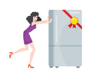 Woman Buys Refrigerator Electronic Device at Sale. Woman buys refrigerator electronic device at big sale for discount price. Household appliances freezer. Fridge royalty free illustration