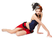 Woman in a cabaret style on a white Royalty Free Stock Images