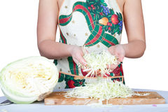 Woman with cabbage isolated on white Royalty Free Stock Image