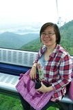 Woman in the cable car. HongKong Royalty Free Stock Image