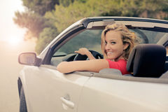 Woman in a cabrio Royalty Free Stock Photography