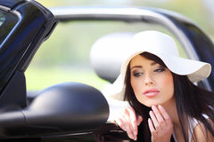 Woman and cabrio  car. Stock Photo