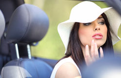 Woman and cabrio  car. Royalty Free Stock Images