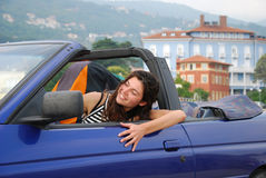 Woman in cabriolet Royalty Free Stock Images