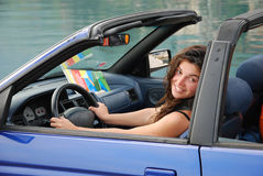 Woman in cabriolet Stock Photos