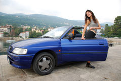 Woman in cabriolet Stock Photography