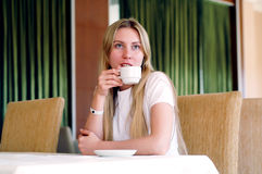 Woman in cafe Royalty Free Stock Photography